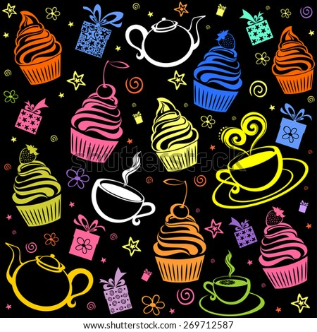 Tea and cake seamless pattern. Menu design. Vector Illustration - stock vector