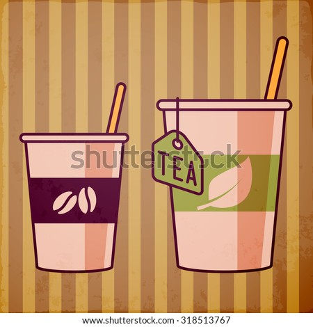 Tea and coffee - stock vector