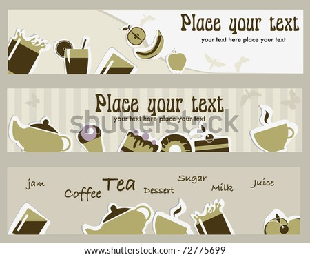 Tea and coffee banners - stock vector