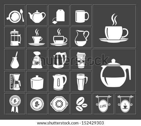 tea and coffee white icon set - stock vector