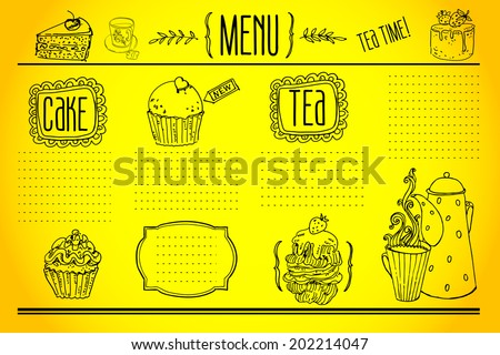 tea and sweets - doodles collection - stock vector