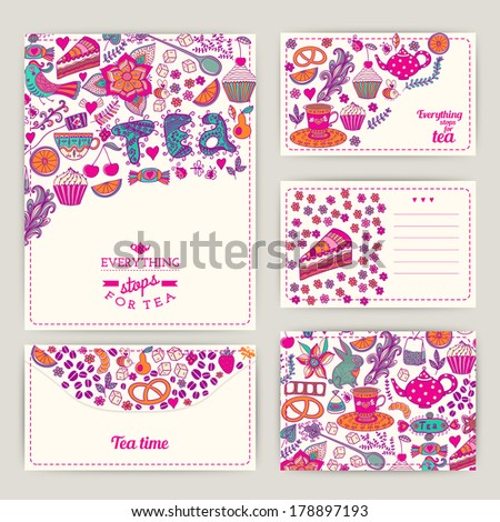 Tea Branding Design. Coffee and Tea design set cards. Sweet pattern. Coffee, tea, background, brand. Tea label, packing. Banner. Greeting floral card. Invitation. Tea,sweets seamless doodle pattern - stock vector