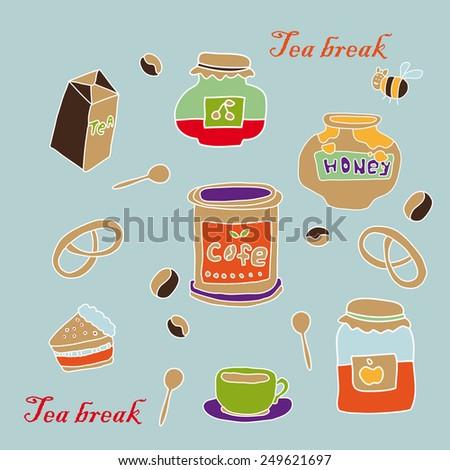 tea break set. vector illustration - stock vector