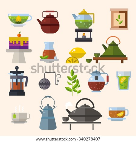 Tea ceremony vector concept illustration. Chinese tea ceremony equipment icons isolated on white background. Tea time, tea leaves, tea pot, tea tools. Tea time vector symbols. Tea glass, green tea - stock vector