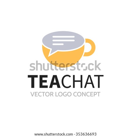 Tea chat logo. Sign in form of cup and bubble speech - stock vector