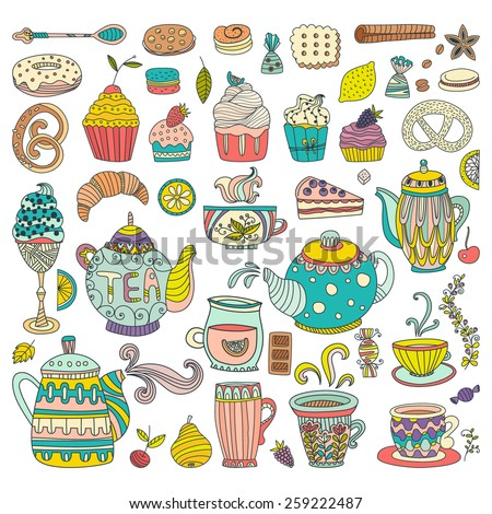 Tea, coffee and dessert isolated vector doodle elements. Baked goods and sweets for your design. Great for restaurant menu, cafe or happy birthday cards. - stock vector