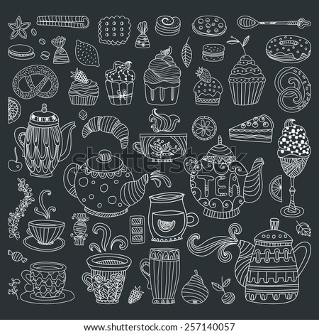 Tea, coffee and dessert isolated vector outline doodle elements in black in white. Baked goods and sweets for your design. Great for restaurant menu, cafe or happy birthday cards. - stock vector