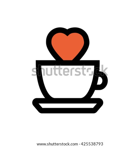 Tea, coffee glass, heart, valentine's day, love line icon. Pixel perfect fully editable vector icon suitable for websites, info graphics and print media. - stock vector