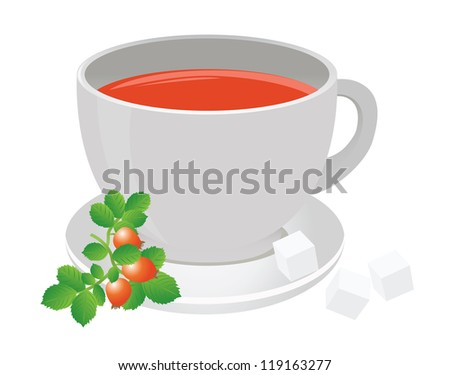 Tea cup and berry - stock vector