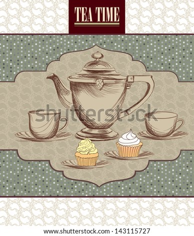 Tea cup and pot label in vintage style. - stock vector