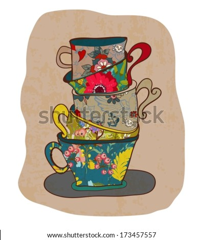tea cup background with floral pattern, vintage style, Vector - stock vector
