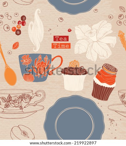 tea cup background with spoon and cakes.Vector illustration. - stock vector