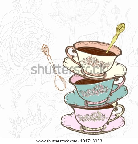 tea cup background with spoon,vector  illustration - stock vector