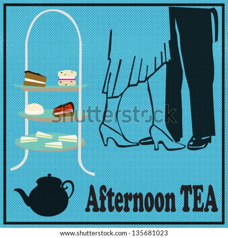 Tea Dance, vector background for an afternoon tea party, with a cake-stand and vintage dancers - stock vector