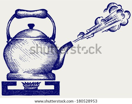 Tea kettle on gas stove. Doodle style - stock vector