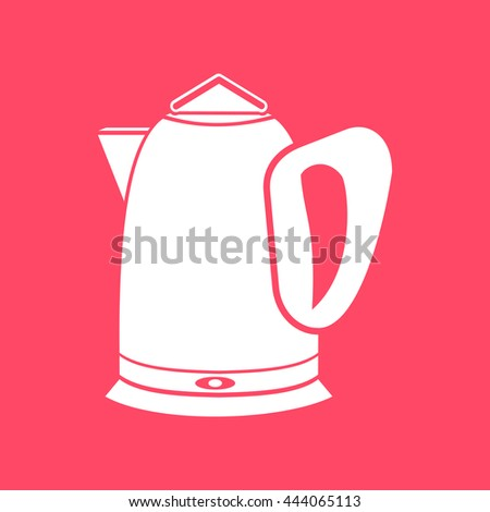 Tea Kettle white icon on magenta color background. Eps-10. - stock vector