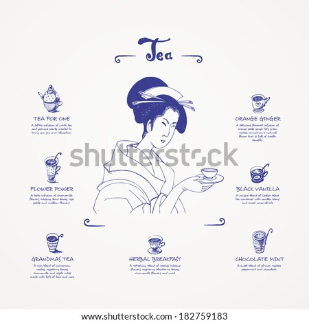 Tea menu. Blue pen drawings - stock vector