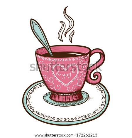 Tea or coffee cup with heart shaped steam. Sketch vector element for romantic design - stock vector