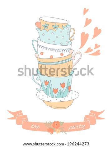 Tea party card with a stack of cute colorful cups. EPS 10. No transparency. No gradients. - stock vector