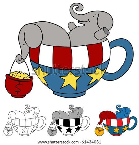 Tea Party Elephant Donations - stock vector