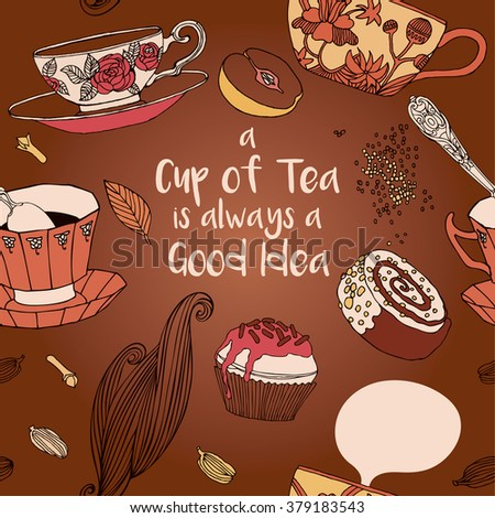 Tea party invitation with cups and cupcakes. Vector card. - stock vector