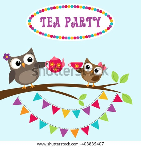 Tea party invitation with cute owls on branch with teapot and cup - stock vector