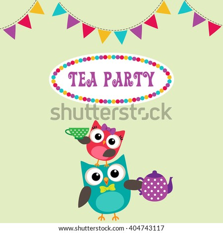 Tea party invitation with cute owls with teapot and cup - stock vector