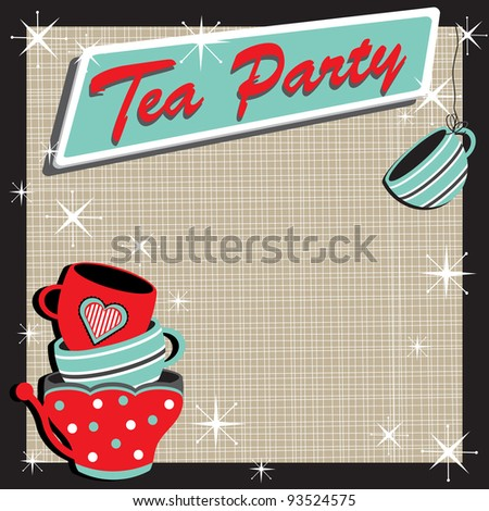 Tea Party Invitation with stacked colorful tea cups in a retro style - stock vector
