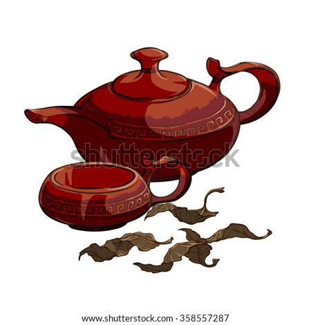 Tea party served: ceramic teapot and cup with some dry tea leaves.