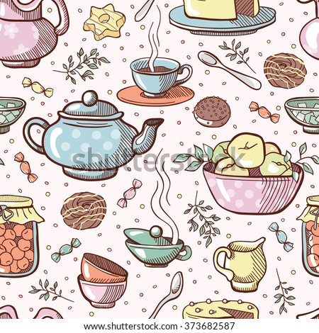 Tea party. Vector seamless pattern with teapot, sweets and desserts (background) - stock vector