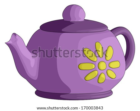 Tea Pot -  Vector Artwork (isolated on white background). - stock vector