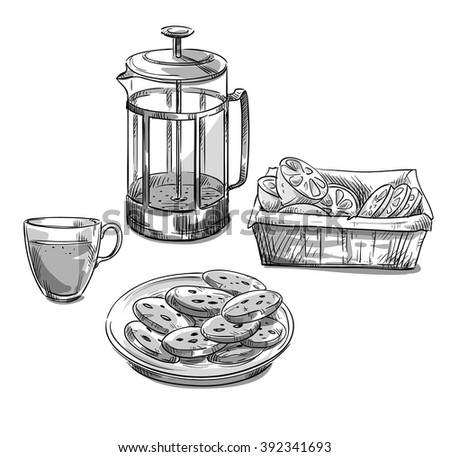Tea serving. Vector sketch - stock vector