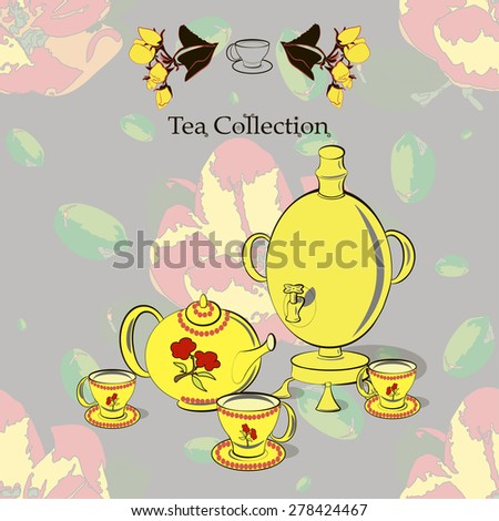Tea set with samovar on the seamless pattern with apple flowers in Russian style  and pop art. Tea collection. - stock vector