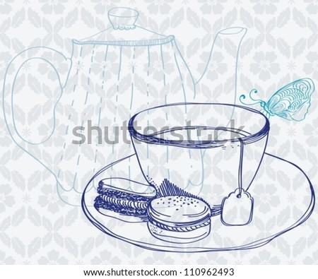 tea time background with cup,cookies and butterfly, vector - stock vector
