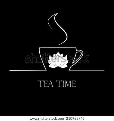 Tea time background with cup of tea, vector illustration - stock vector
