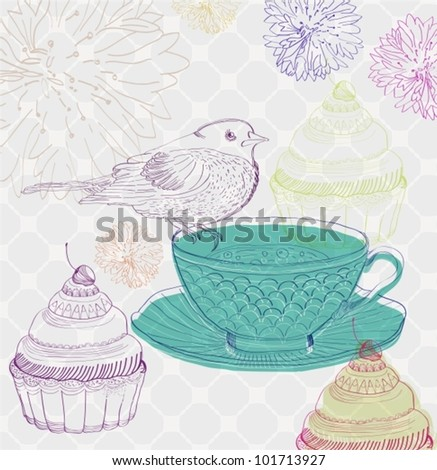 tea time background with cupcakes and bird, beautiful vector illustration - stock vector