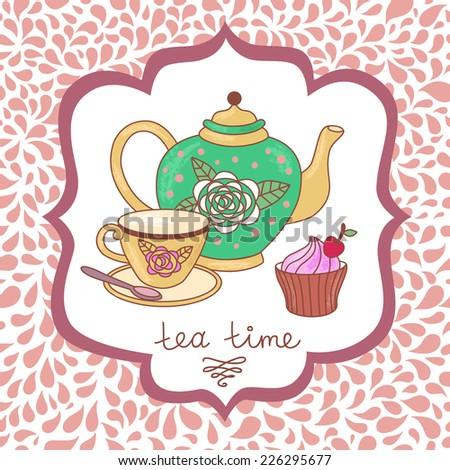 Tea time card. - stock vector