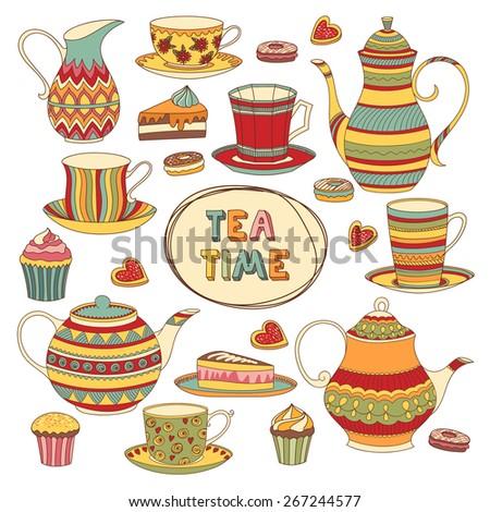 Tea Time Cartoon Scrapbook Set. Menu Template. Isolated Objects. - stock vector
