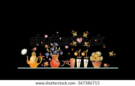 Tea time. Cute shelf with teapot, teacups, flowers and birds on black background. Beautiful colorful hand drawn vector illustration.  - stock vector