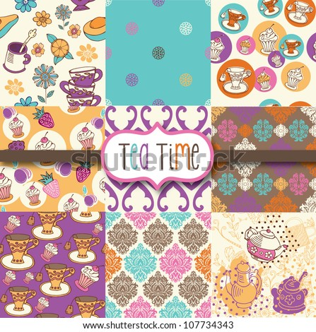 Tea Time Digital Scrapbook Paper - stock vector