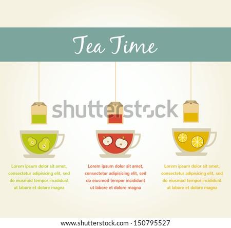 tea time. fruit tea infographics - stock vector