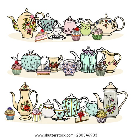 Tea time illustration. Vector graphics of vintage tea things and desserts. Hand drawn porcelain tea pots, sugar bowls and milk jugs; yummy muffins and cakes.  - stock vector