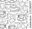 tea time monochrome seamless pattern with porcelain and cookies on white background - stock vector
