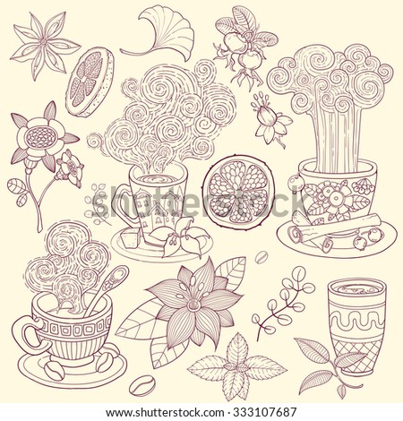 tea time scrapbook set vintage vector illustration - stock vector