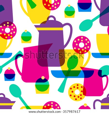 Tea time seamless pattern. Tea cup, donut, spoon, teapot, saucer, coffee pot. Vector illustration. Isolated tea object on white background. - stock vector
