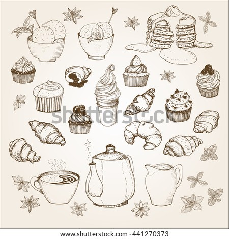 Tea Time set performed in vintage style. Hand drawn illustration. It can be used for design menu or greeting cards, packaging - stock vector