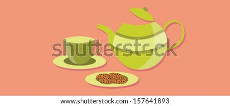tea time set with abstract background - stock vector
