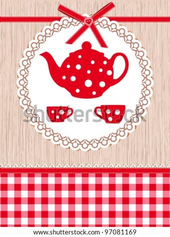 Tea time template - stock vector