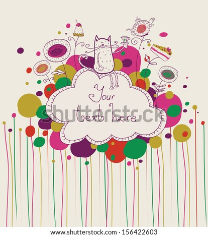 Tea time template design.Vector illustration made of sweets. Retro card made of candy, sweets,and tea things. Bright summer outlines made from tea things. Cat with tea.Let's tea! Tea invitation. - stock vector