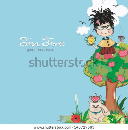 tea time vector illustartions with girl and the cat - stock vector